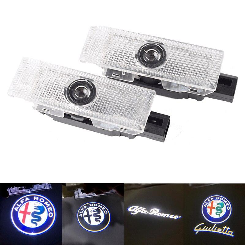 2 шт. для Alfa Romeo 159 Giulia Giulietta Mito Stelvio автомобиль Brera Spider 3D светодиодный Автомобильный Дверной логотип огни проектор лазерный Призрак теневая ла...