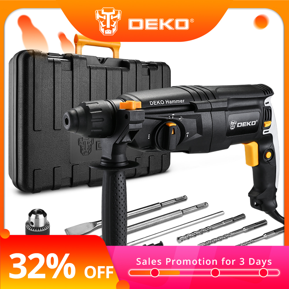 DEKO 220V 26mm 4 Functions AC Electric Rotary Hammer With BMC And 5pcs Accessories Impact Drill Power Drill Electric Drill