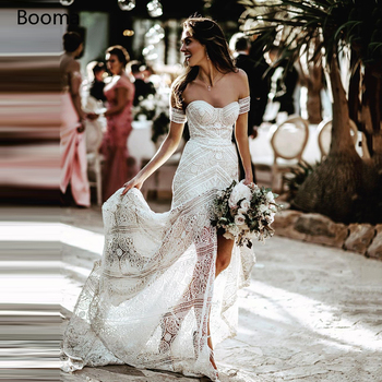 Simple Boho Mermaid Lace Wedding Dresses Ivory Off the Shoulder Trumpet Bohemian Bridal Gowns Long Beach Bride - discount item  48% OFF Wedding Dresses