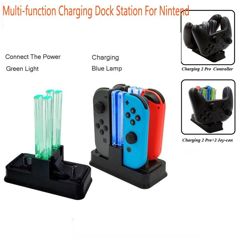 Многофункциональная зарядная док-станция для управления переключателем, светодиодный дисплей, подставка для зарядного устройства для NS ...