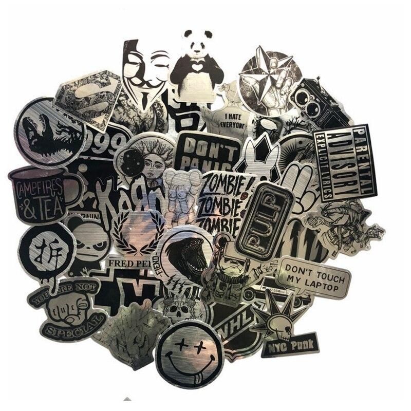 50 шт металлический Черный и белый Стикеры s для ноутбука скейтборд Чемодан стайлинга автомобилей домашний декор JDM Прохладный Смешные Водон...