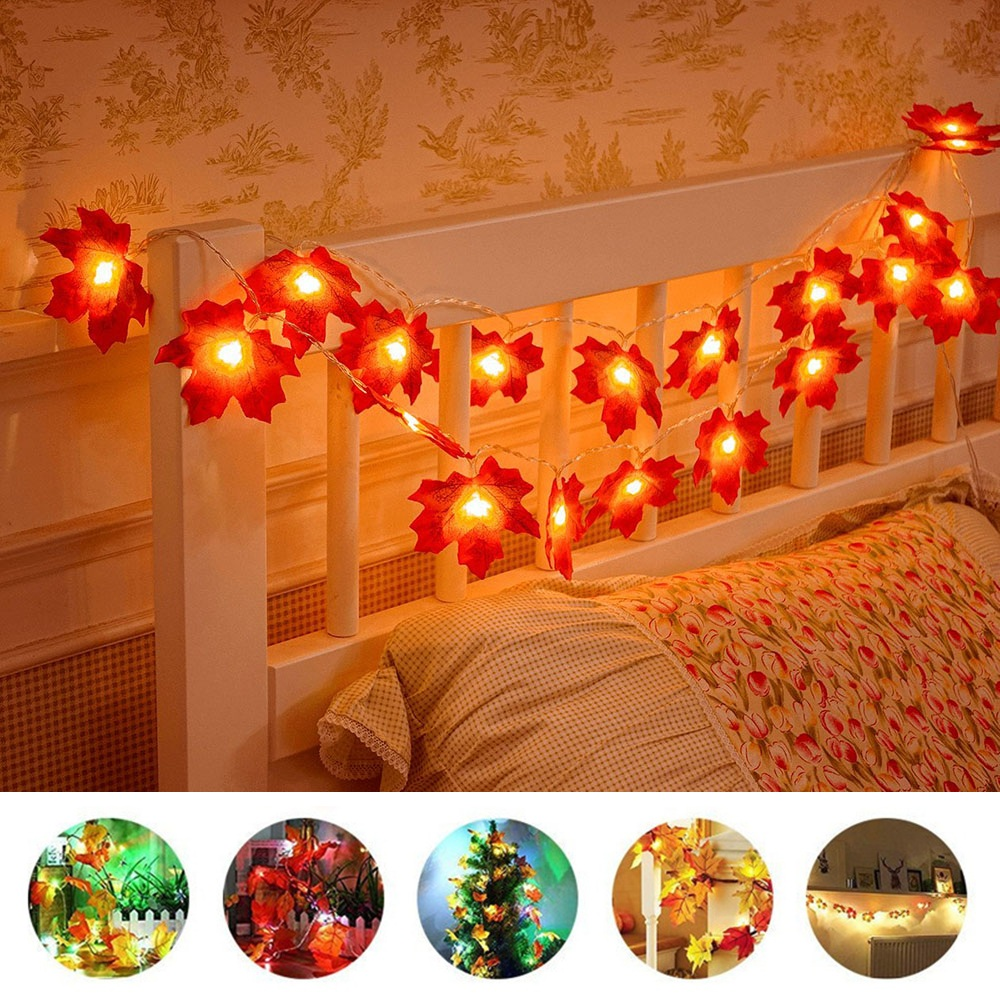 Led Fairy String Light Christmas Maple Leaves Lights 5M 10leds/3M 20leds Lighting Autumn Plants Fence Party Light Stair Railing