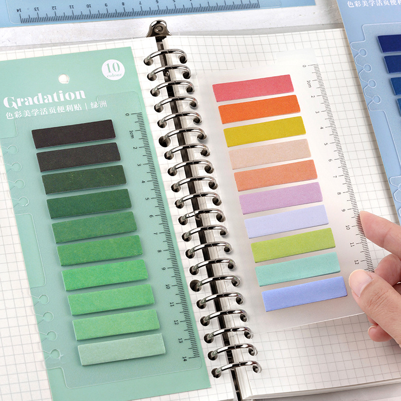 100 Pcs/pack Color Aesthetics Series With Ruler Memo Pad Notes Memo Notebook Stationery Papelaria Escolar School Supplies