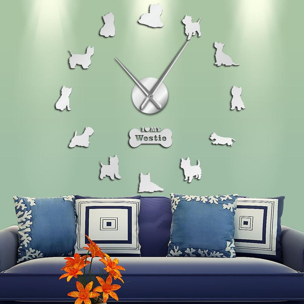 West Highland White Terrier DIY reloj gigante de pared efecto espejo Arylic arte de pared perro mascota amo mi Westie Reloj de pared de manos largas 1 pieza de levantamiento de pesas Fitness DIY gran reloj de pared Powerlifting Bodybulding sin marco Reloj de pared gigante espejo 3D pegatina de pared