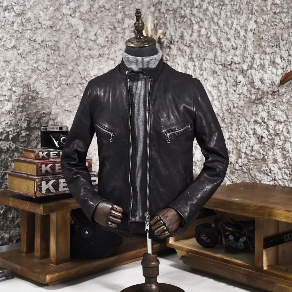 2020 Men's Stand Collar Sheepskin Slim Fit Short Motorcycle Jacket Pockets Moto Biker Rider Leather Coat Men High Quality