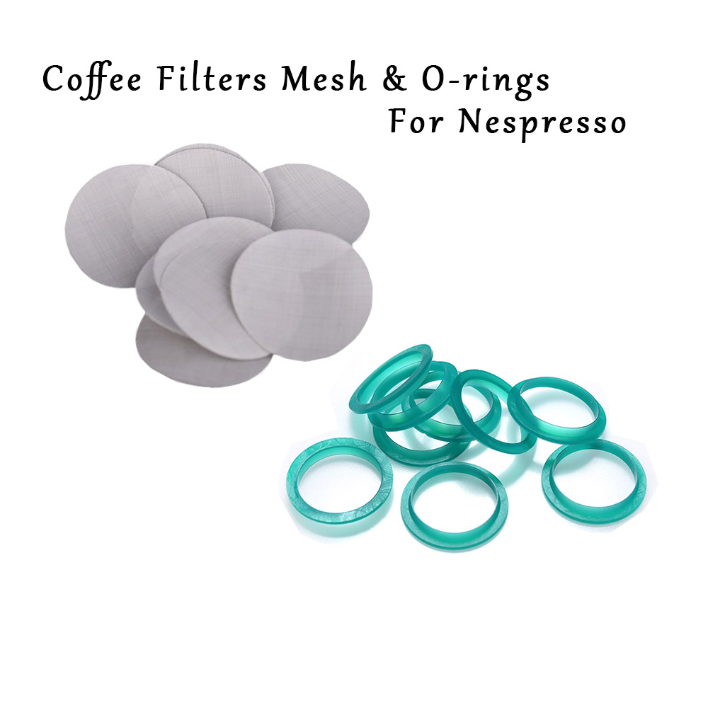 16PCS Filter Mesh 15pcs Silicone O-ring Replacement Ring Compatible With Nespresso Stainless Steel Refillable Capsules Coffee