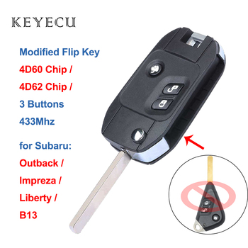 Keyecu Modified Flip Folding Remote Car Key Fob 3 Buttons 433MHZ with 4D60 / 4D62 Chip for Subaru Outback Impreza Liberty B13 image