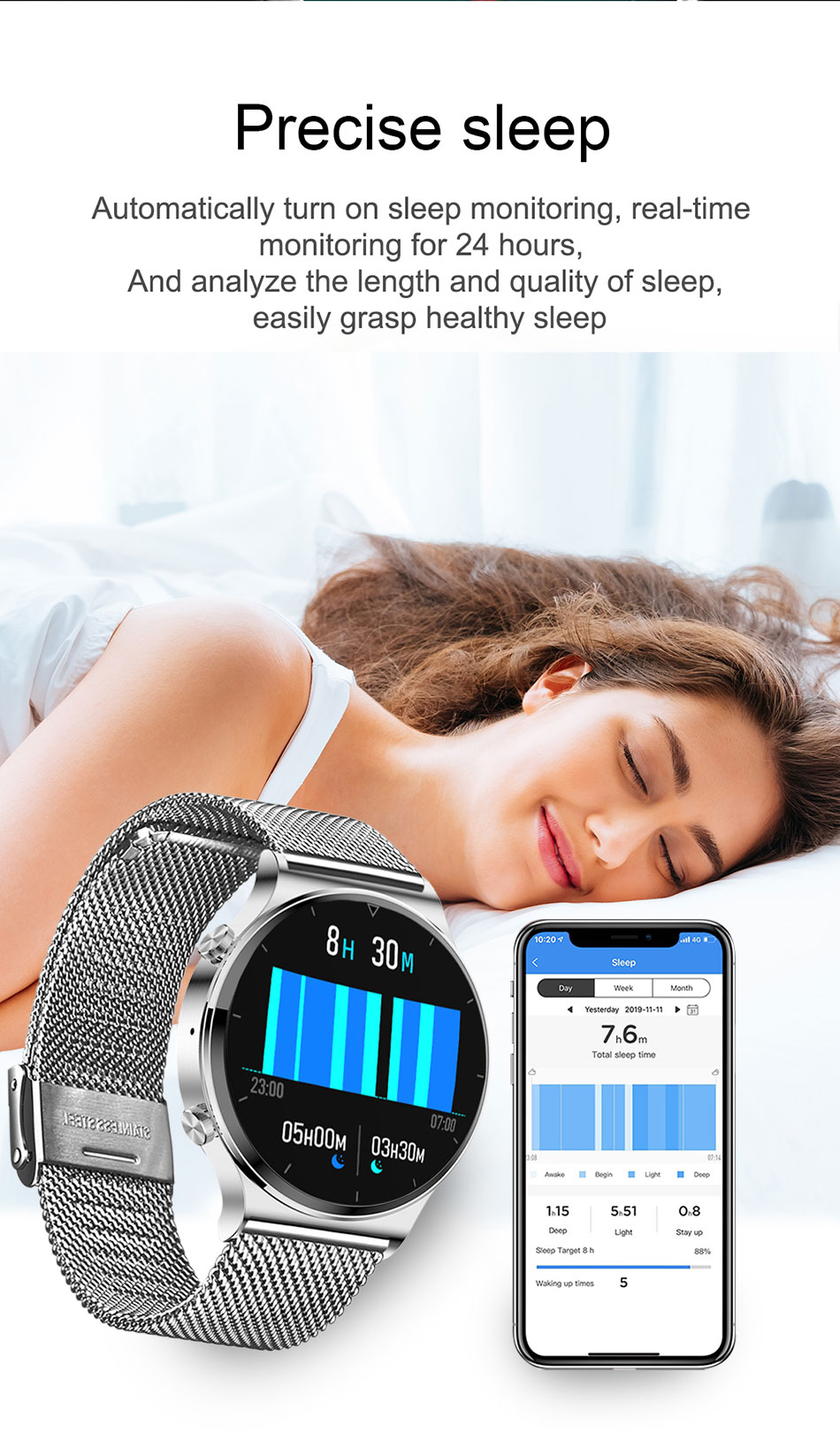 He29fcfcc1ad64e978e992c3e29e4be7cV LIGE New Smart watch Men Heart rate Blood pressure Full touch screen sports Fitness watch Bluetooth for Android iOS smart watch