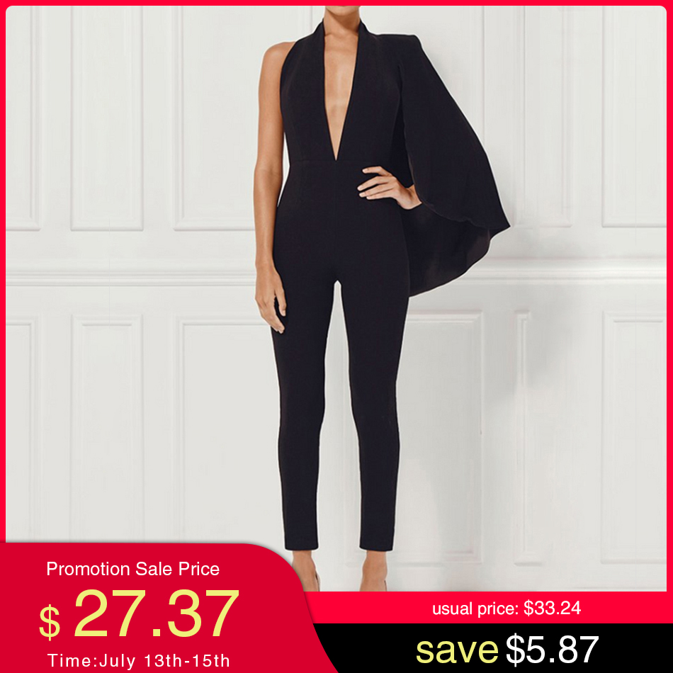Adyce Celebrity Runway Jumpsuit Women 2020  Black Deep V-Neck Halter Half Batwing Sleeve Rompers Jumpsuit Bodycon Bodysuits