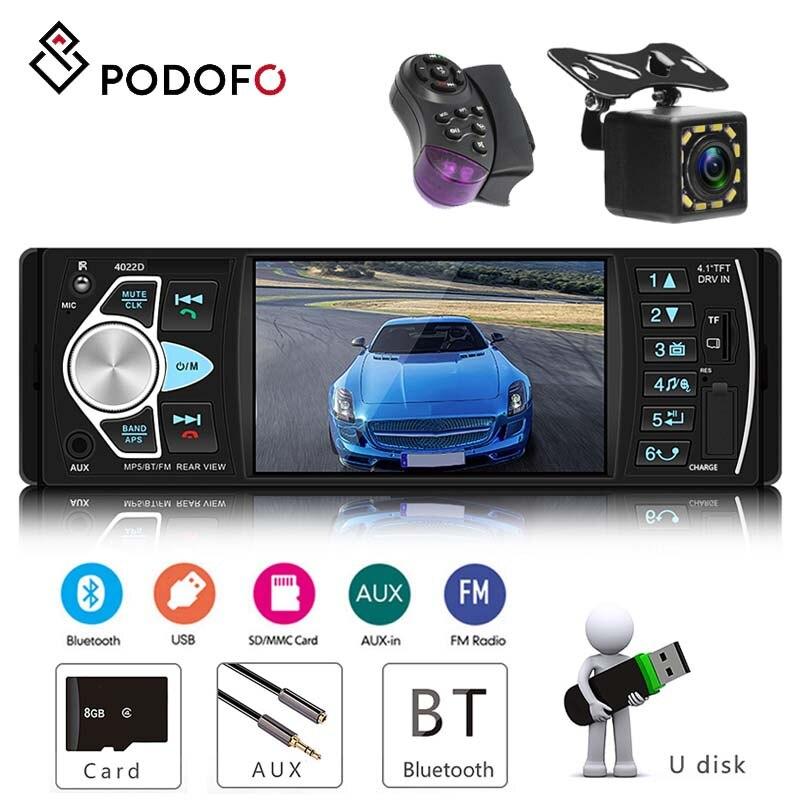 Podofo 4.1 ''radio samochodowe z SD karta mmc USB FM Bluetooth wbudowana dynamiczna trajektoria 1 din stereofoniczny odtwarzacz audio