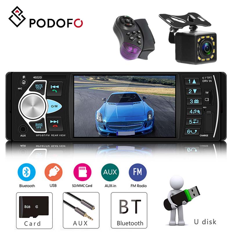 Podofo 4.1'' Car Radio With SD MMC Card USB FM Bluetooth Built-in Dynamic Trajectory 1 Din Audio Stereo Player