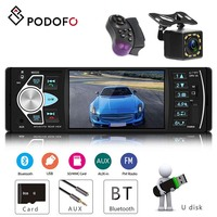 Podofo 4.1'' car radio With SD MMC card USB FM Bluetooth Built in Dynamic trajectory 1 din Audio Stereo player