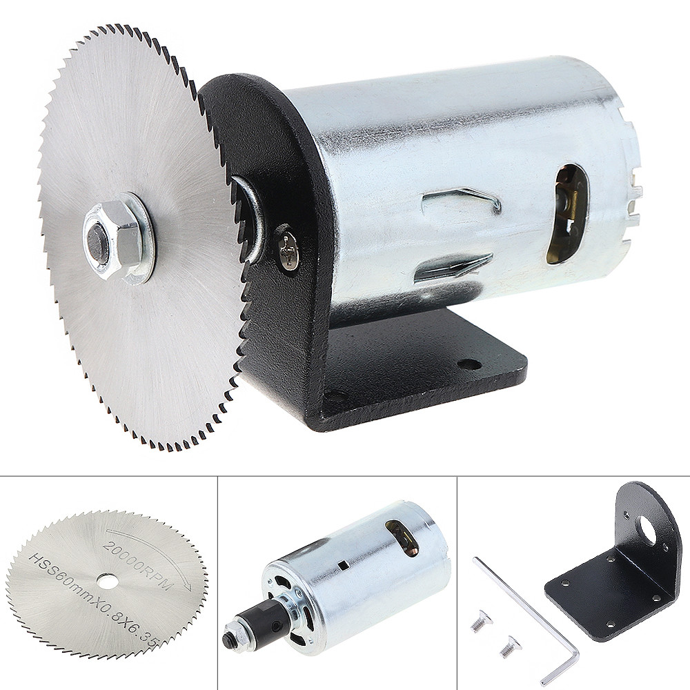 24V 555 Motor Table Saw Kit with Ball Bearing Mounting Bracket and 60mm Saw Blade for Woodworking Cutting Polishing Engraving