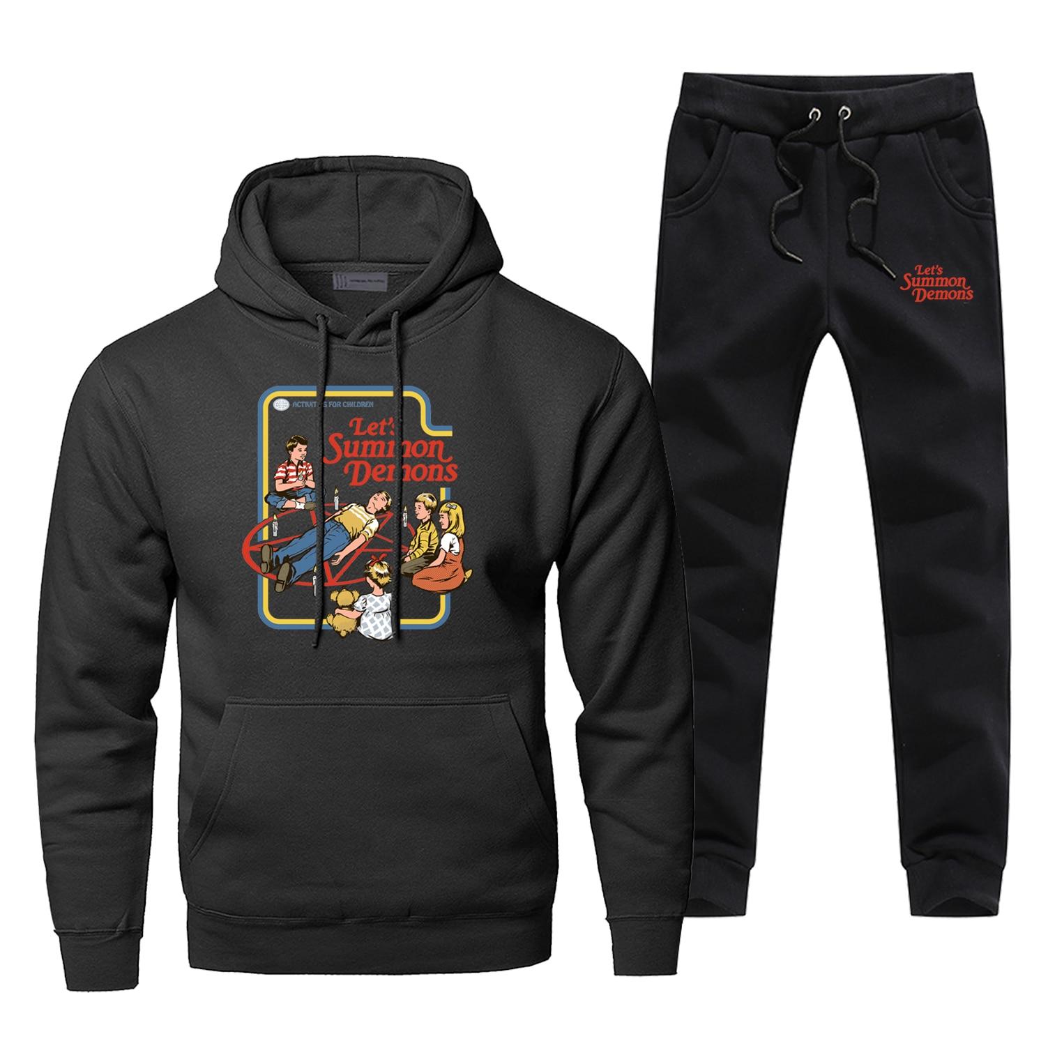 Let'S Summon Demons Funny Joke Print Hoodies Pants Sets Men Sweatshirt Fashion Vintage Sportswear Fleece Streetwear Tracksuit