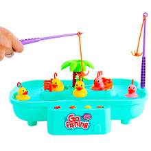 Children Fishing Toys Baby Cartoon Water Sets W Music Rotating Fishing Ducklings Parent-child interactive game Kids holiday gift fishing game toy set music rotating board 4 fishing poles game for children yjs dropship