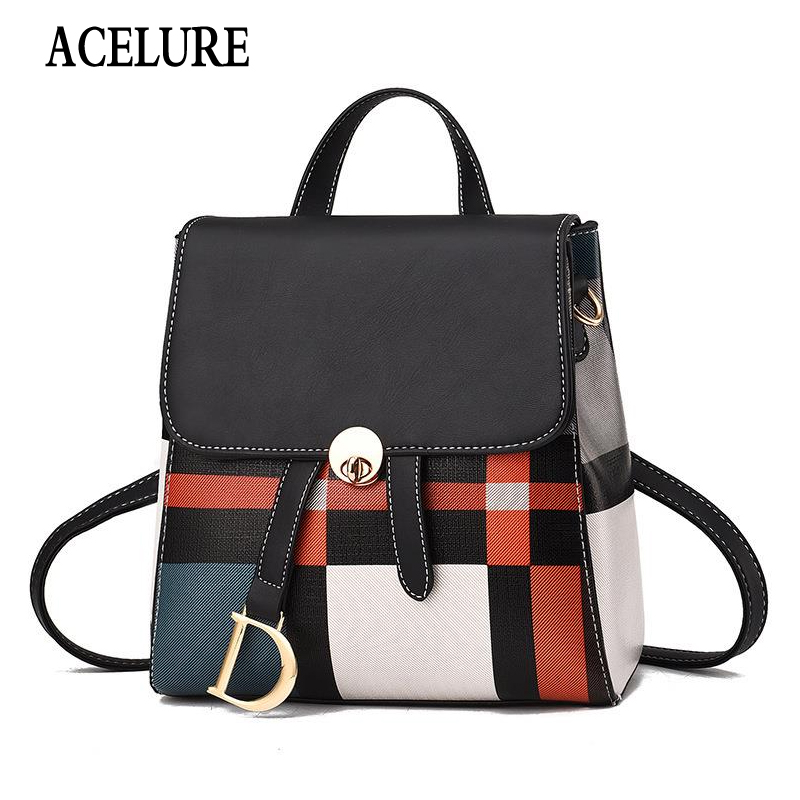 New Women Backpack Pure Color Women Travel Bag Fashion Double Backpack Female Bagpack Pack Design Casual Backpack ACELURE