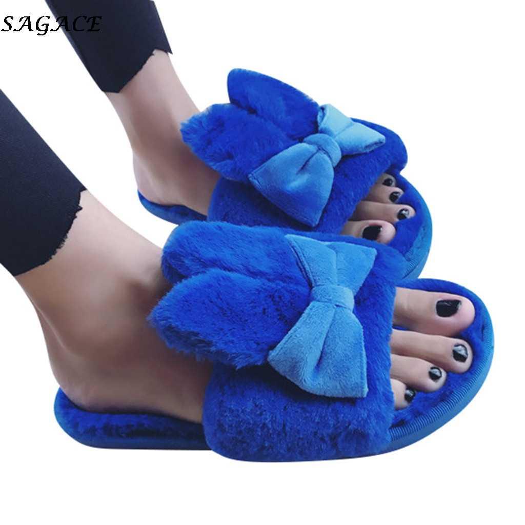 Sagace Bulu Lembut Rumah Dalam Ruangan Sandal Wanita 2019 Baru Musim Dingin Hangat Sandal Wanita Bow Flats Slip Pada Peep Toe sepatu Wanita # 4Z