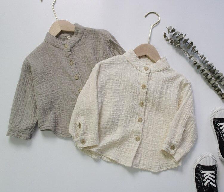 Новинка Осень 2020, рубашки из хлопка и льна для маленьких мальчиков, однотонные рубашки в Корейском стиле с воротником-стойкой для малышей, Д...