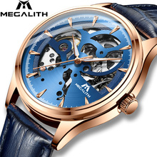 MEGALITH Watches Men Mechanical Automatic Watch Relogio Masculino AutomáTico Blue Waterproof Genuine Leather Wristwatch