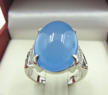 free shipping> 925 Sterling Silver Ring / Chinese Blue Chalcedony Nice Ring U.S Size :7-7.5(China)