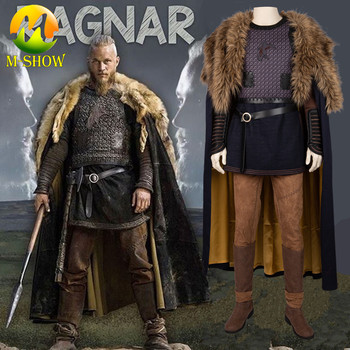 Vikings Cosplay Costume Ragnar Lothbrok Outfit Cloak Boots Halloween Costumes for Adult Men Custom Made цена 2017