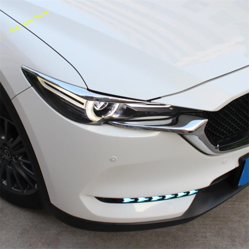 Lapetus Front Head Lights Lamp Eyelid Eyebrow Strip Cover Trim Fit For <font><b>Mazda</b></font> <font><b>CX</b></font>-<font><b>5</b></font> CX5 2017 <font><b>2018</b></font> 2019 2020 Auto <font><b>Accessories</b></font> image