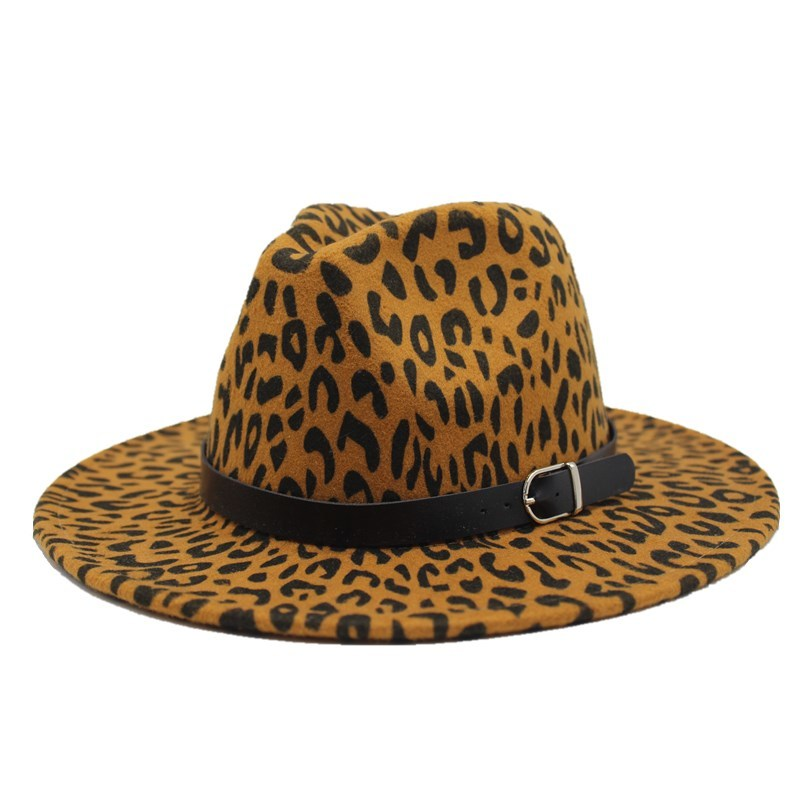2019 new Trend Unisex Flat Brim Wool Felt Jazz Fedora Hats Men Women Leopard Grain Leather Band Decor Trilby Panama Formal Hats 6