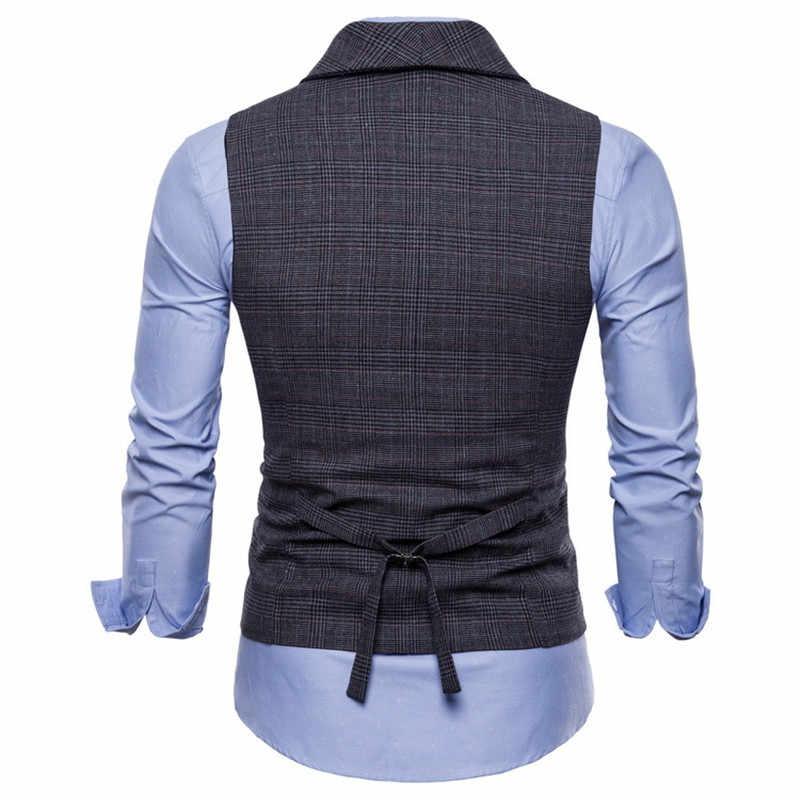Marke Anzug Weste Männer Jacke Ärmelloses Beige Grau Braun Vintage Tweed Weste Mode Frühjahr Herbst Plus Größe Weste