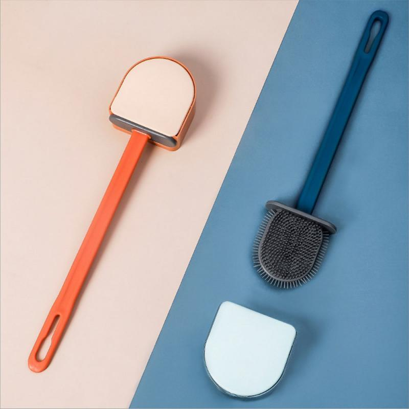 Wall-mounted Toilet Brush Holders Flush Brush Soft Bristle Holder Set Accessories Cleaning Tool Durable Plastic Rubber Bathroom