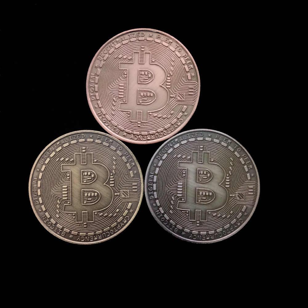 2019 Gold Plated Bitcoin เหรียญสะสม Art Collection ของขวัญทางกายภาพที่ระลึก Casascius บิตโลหะ BTC เลียนแบบโบราณ