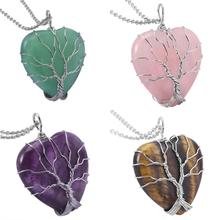 TUMBEELLUWA Natural Crystal Quartz Sliver Tree of Life Wire Wrapped Heart Pendant Necklace,Healing Reiki Stone Pendant for Women цена 2017