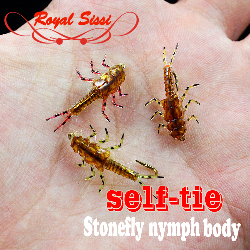 Insect-Model Fly-Tying Flies Rubber-Body Fly Nymph Stonefly with Legs 10pcs-Pack Wet title=