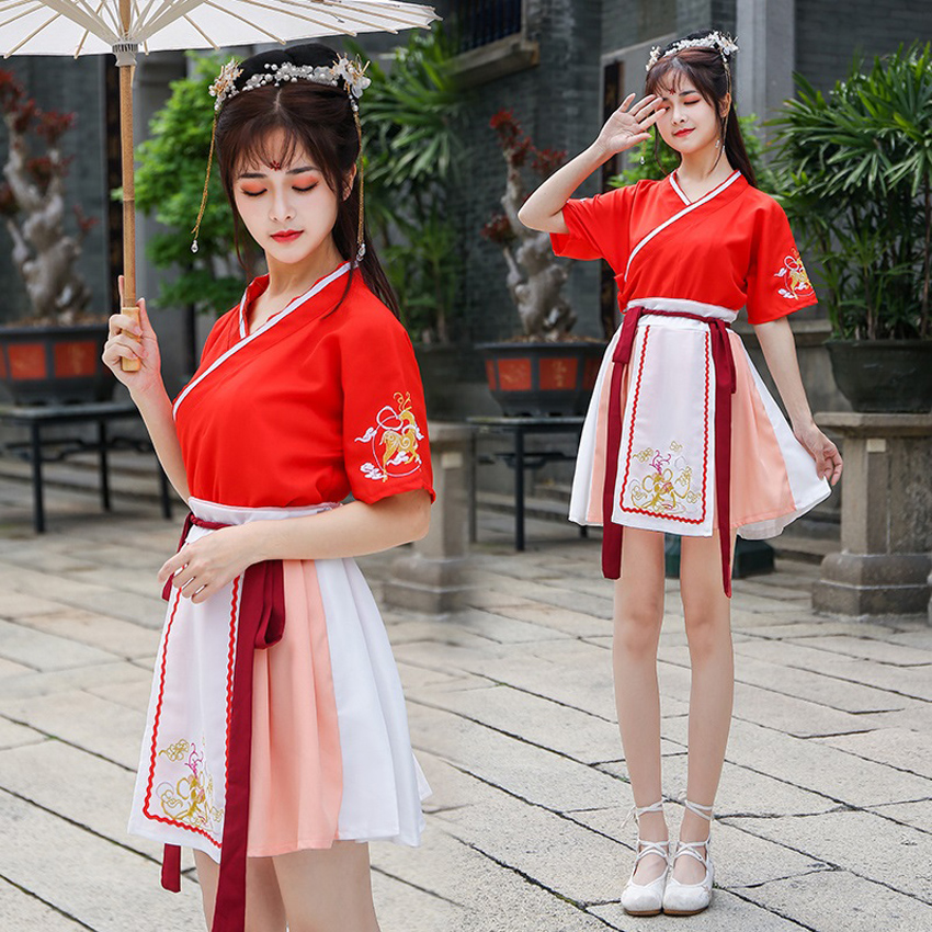 Short Sleeve Women Girls Japanese JK Suit Kimono Yukata Fashion Tops+skirt Traditional Clothing Chinese Hanfu Dance Wear