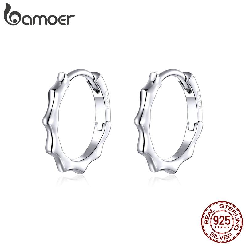 Bamoer Genuine 925 Sterling Silver Round Hoop Earrings For Women Minimalist Lace Macrame Pattern Silver Jewelry Brincos SCE843