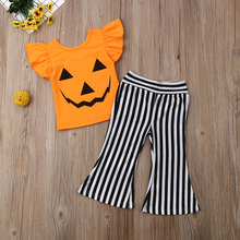 Halloween Girl Outfits Baby Clothes Set Toddler Kids Pumpkin T shirt Long Pants 2PCS Clothing Set Children Boutique Outfit цены онлайн