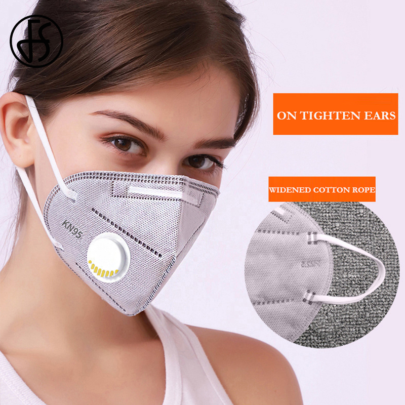 FS New Kn95 Face Mask Mouth Filtration Non-woven Fabric Dust Particles Pollution Protective Masks Breathable Valve Women Men