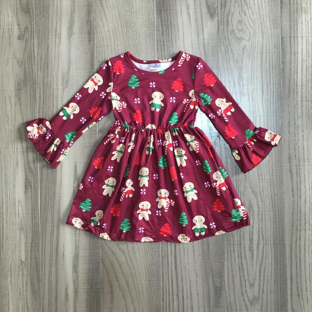 Exclusive Girlymax Christmas Girls Children Clothes Baby Santa Claus Snowman Winter Long Sleeve Ruffles Milk Silk Dress Boutique 2