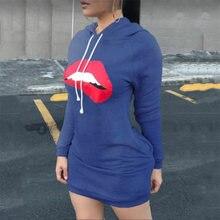 Платья для 2021 женская обувь с принтом «губы» длинными рукавами