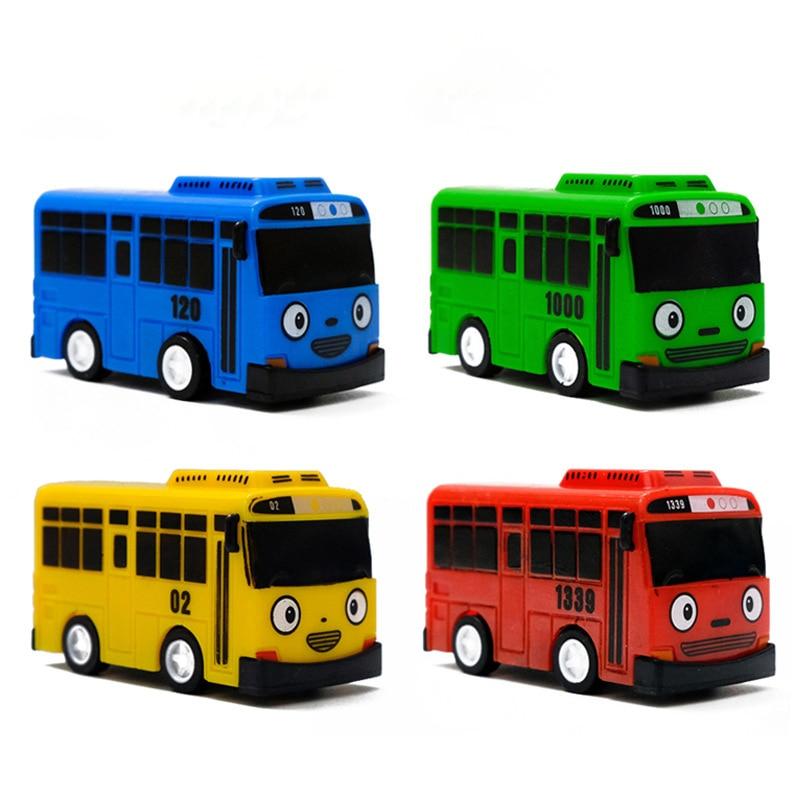 1pc Random Color Cartoon Mini TAYO Bus Taxi Back Children Educational Toys Bus Korean Anime Model Buses Kids Birthday Gifts