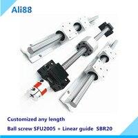 SBR20 linear guide rail+ ballscrew SFU2005 any length+BK/BF15+nut housing+couplers for CNC parts 20mm linear guideway rail set