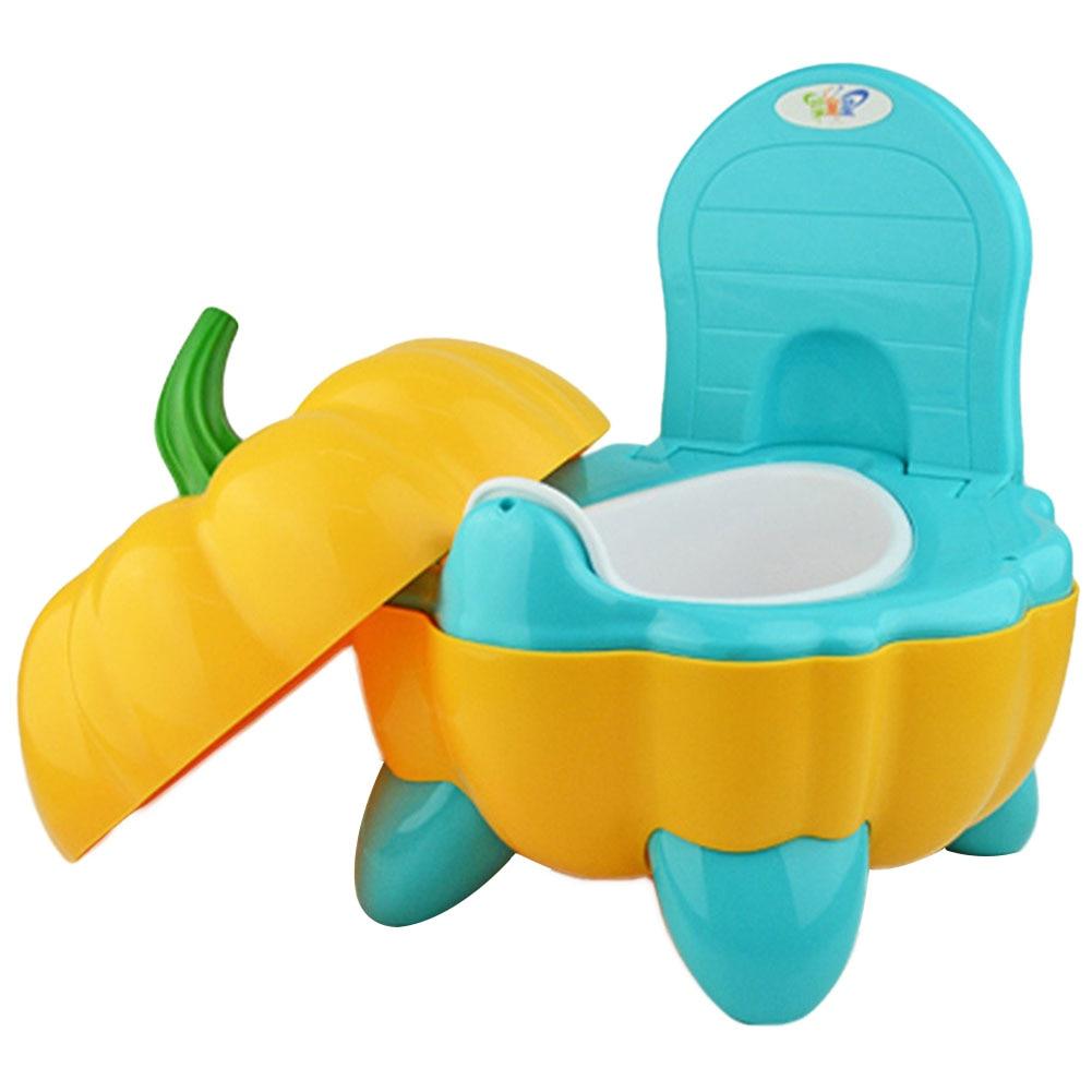 Baby Potty Toilet Bowl Cute Pumpkin Cartoon Training Pan Toilet Seat Children Bedpan Portable Urinal Comfortable Backrest Pot