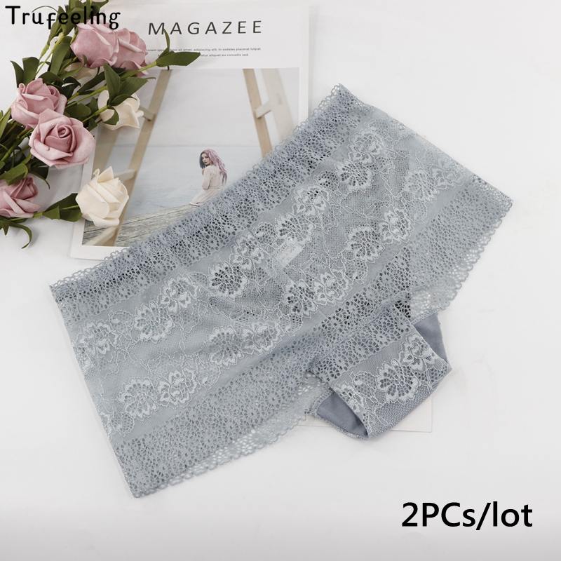 Trufeeling <font><b>Sexy</b></font> <font><b>Women</b></font> Lace <font><b>Panties</b></font> Mid-Waist Transparent Briefs <font><b>Breathable</b></font> Comfortable Hollow floral young Girl Underwear image