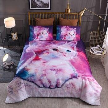 BEST.WENSD Pink Purple Hat cat comforter bedding sets meteor shower Animal bed comforter set pink Home textile kids ropa de cama