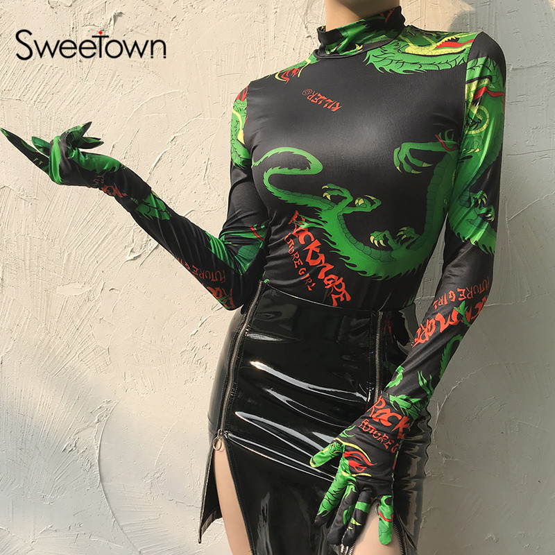 Sweetown Vintage Dragon Print Long Sleeve Women Bodysuit Autumn Winter 2019 Fashion Turtleneck Bodycon Body Suits With Gloves