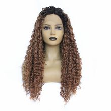 Two Tones Long Kinky Curly Synthetic Lace Front Wigs Ombre Brwon Color Heat Resistant Fiber Natural Afro Curly For Black Women 2016 hot sale heat resistant synthetic lace front wigs long curly natural black for women free shipping untied braided
