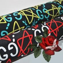 50x150cm New Double G Five-pointed Star Printing Garment Fabric DIY Dress Shirt Silk Fabric