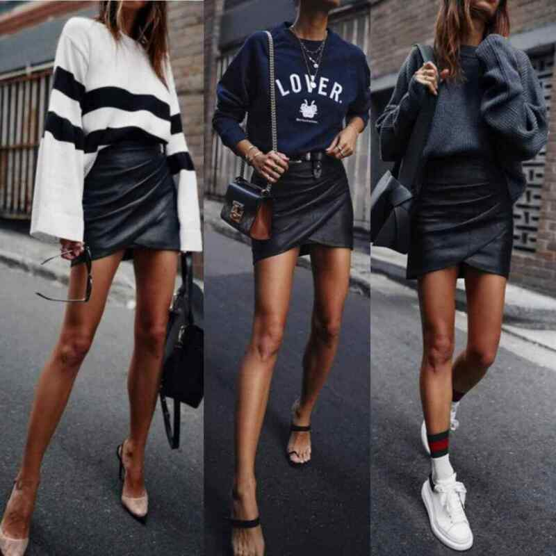 2019 Autumn New Fashion Womens Ladies High Waisted Pencil Skirt Cross Bandage Bodycon Leather Irregularity Mini Dress