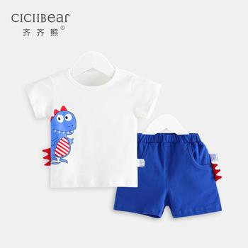 ciciibear Newborn Infant Baby Boys Clothes shorts set Summer Grils Dinosaur Cartoon Printing suit