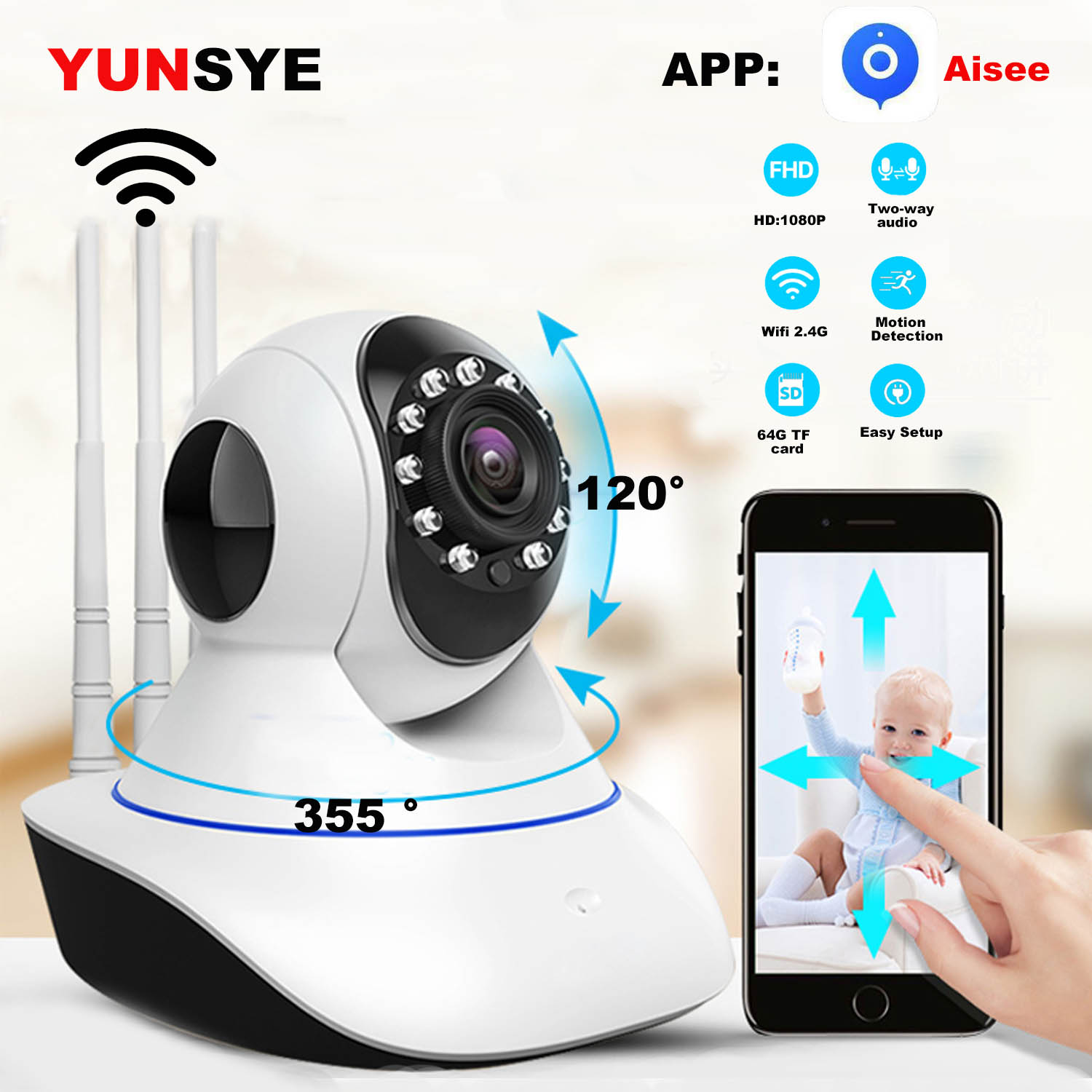 YUNSYE HD 1080P Wireless WIFI IP Camera Home Security Monitor Intelligent Network Video System Two Audio Night Vision APP:AISEE