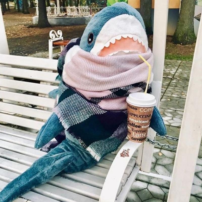 45-140cm Giant Big Size Funny Soft Bite Shark Plush Toy Stuffed Lovely Animal Reading Pillow Appease Cushion Gift For Children